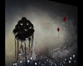 PAINTING SALE - 25 PERCENT OFF - Alone, Lost, in the forest of lights - Original Painting by Bellatrix