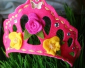 Bella Frosting - Princess Tiara Headband - Hot Pink Butterfly