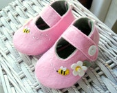 Cotton Candy summer- Wool felt and Eco-friendly felt baby shoes