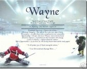 PERSONALIZED HOCKEY PLAYER NAME MEANING PRINT PICTURE