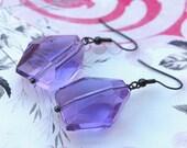 Purple Quartz Glass Style Earrings