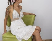 white lace and vintage fabric summer halter dress