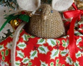 Poppy the Christmas Mouse in her decorated basket