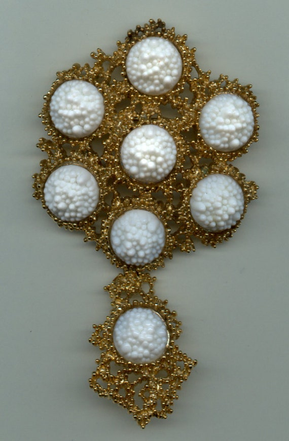 RESERVED  Huge Boucher Brooch/Pendant with Interesting Glass Stones