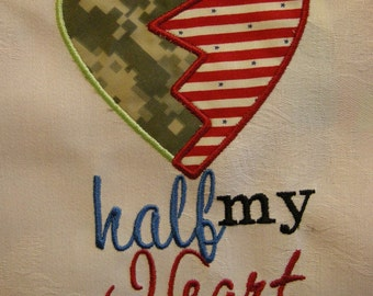 Half my heart deployed Applique Police Fireman Military Soldier Sailor Grunt Airman -  INSTANT Download Machine Embroidery Design by Carrie