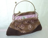 RESERVED FOR INGRID, Purse - retro brown baby cord and brown-rose cotton fabric