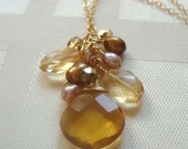 Amber Jewel Cluster Drop Necklace