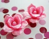 Zakka 43mm Pink Glittler ORCHID Flower open blossom CABOCHONS cab 2pcs 1284