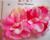 Mini Pink flower peony hair clips,  with pink polka dot grosgrain ribbon tied centers.