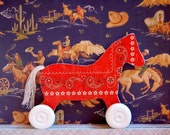Pony Wooden Pull Toy in RED BANDANA Print