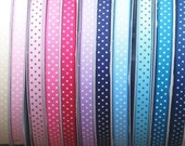 Lot 50 yards Swiss dot mixed colors grosgrain ribbon 3\/8 great for Korkers