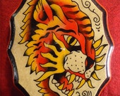 Original Vintage Style Traditional American Hand Painted Tattoo Tiger Flash Plaque
