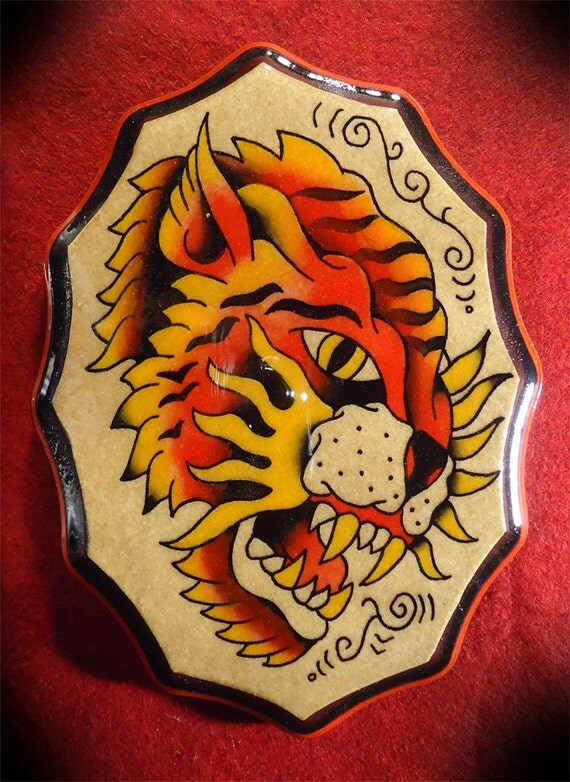 Original vintage style traditional american hand painted for American traditional tiger tattoo
