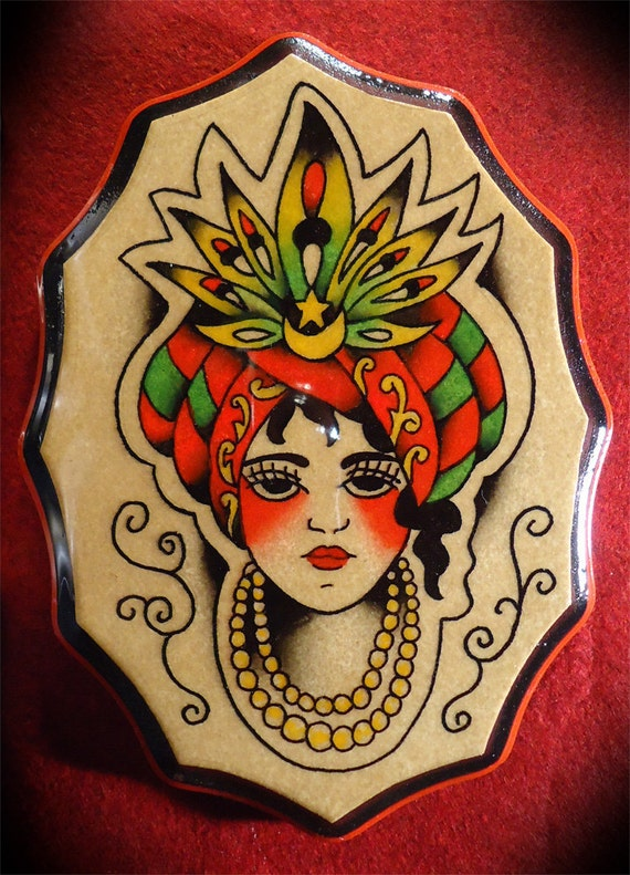 Vintage Style Traditional American Hand Painted Tattoo Gypsy
