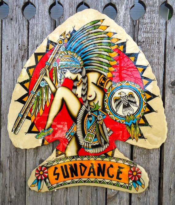 Original Antique Style Hand Painted Traditional American Indian Princess Sun Dance Tattoo Plaque 20x23