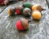 7 Needle Felted Wool Acorns - Poppy - Squash - Forest