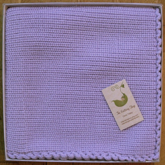 Baby Blanket Gift Box : Items similar to beautiful lavender knitted baby blanket