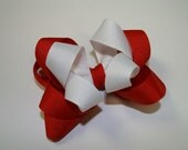 Red And White Double Bow Valentines Hair Clip