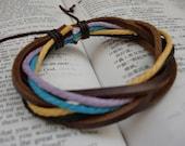 SALE\/Dance\/Color Waxed Hemp Cord And Tan Leather Bracelet\/Leather Band\/Leather Bangle\/Violet\/Aqua\/Yellow\/Black