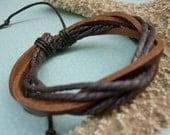 SALE\/Dance\/Color Waxed Hemp Cord And Tan Leather Bracelet\/Leather Band\/Leather Bangle