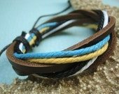 SALE\/Dance\/Color Waxed Hemp Cord And Leather Bracelet\/Leather Band\/Leather Bangle\/Yellow\/Aqua\/Black\/White