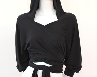 MADE TO ORDER Black Hoodie Stretch Jersey Hoodie Wrap