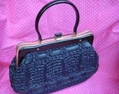 Navy Blue Vintage Straw Purse Women's