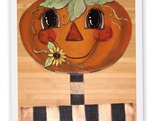 Happy Pumpkin Striped Stake