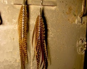RESERVED FOR Jill4Witz CUSTOM OLIVE MARIONETTE FEATHER EARRINGS