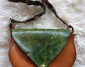 Small Leather Green Leaf Bag