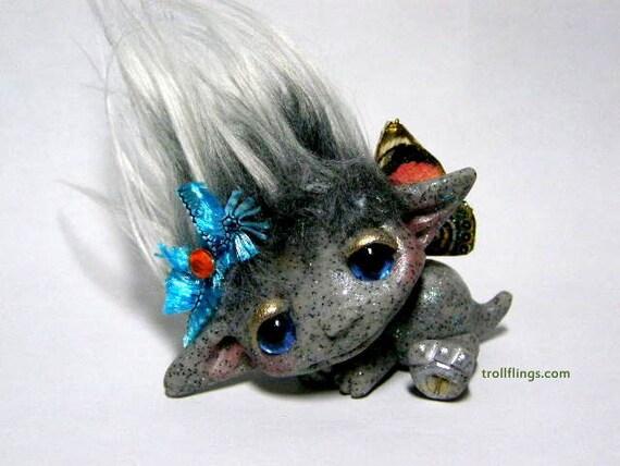 """OOAK Stone Baby Dragon Trollfling Troll Fairy """"Lynnie"""" by Amber Matthies"""