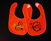 Set of Two Monogrammed Baby Bibs - Halloween Spiders on Orange Bibs - You Pick Fonts and Thread Colors