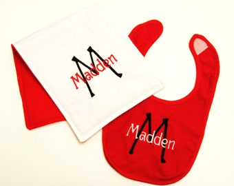 Monogrammed Baby Bib & Burpcloth Gift Set - Red and White
