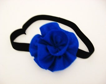 Black Elastic Headband with Large Blue Flower