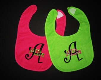 Set of Two Monogrammed Baby Bibs - You Pick All