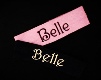 Set of 2 Monogrammed Headbands - 20 Colors to Choose From - Name and Initial - U Pick All - Shown are Light Pink and Black