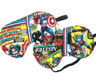 Set of 2 - Captain America Sleep Masks - Falcon and MadBomb   - Comes as Shown - Handmade - Fits Kids to Adults