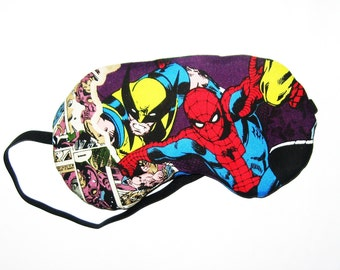 Sleep Mask -  Spiderman and Wolverine - Comes as Shown - Handmade - Fits Kids to Adults
