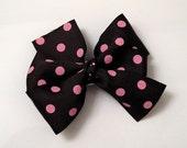 Chocolate Brown and Pink Polka Dot Hair Bow