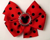 Red and Black Polka Dot Mickey Mouse Hair Bow