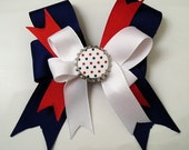 Fourth of July Boutique Hair Bow with stars bottle cap