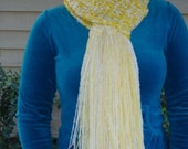 Bright Yellow and White Crocheted Scarf with Fringes with Removable Accent Flower