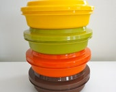 Vintage Tupperware Stackable Bowls with Lids Retro 70s Colors