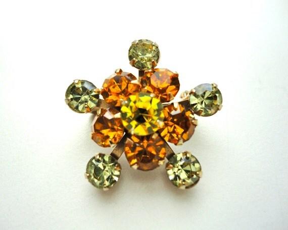 Vintage Brooch Yellow and Orange Rhinestone
