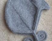 wooly gray alpaca waldorf style pilot cap, size 12-24 mos