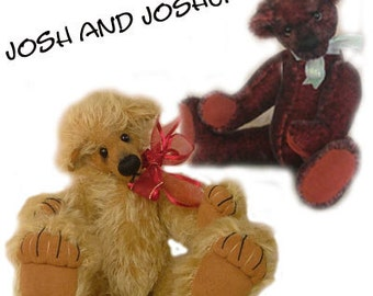 "2 Bears for 1 pattern PDF  ""Josh & Joshua"" Collectable artist designed mohair bears by Nioka Bears"