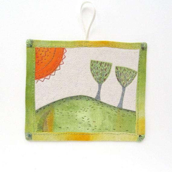 Small Hand Stitched Textile Wall Art/ Ornament - Two Trees on Hill