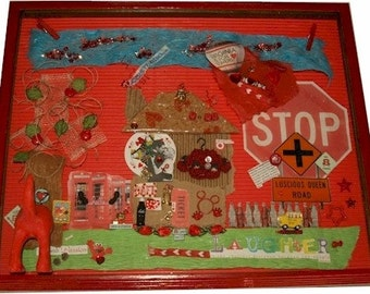 Red, 3D Mixed Media Collage (original)