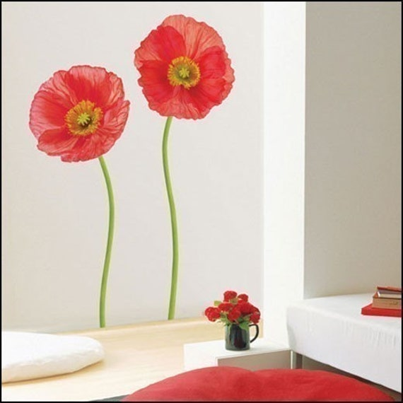 Red Poppy Wall Decor : Items similar to red poppy decor mural art wall paper