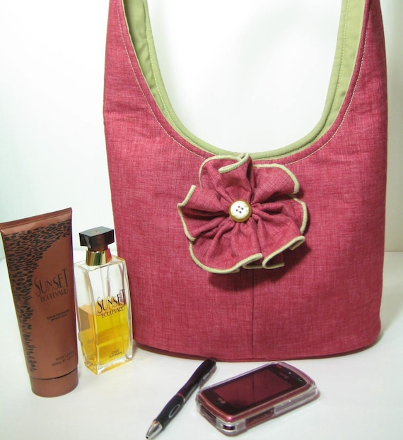 Fabric Hobo Purse, Cotton Dusty Rose, Khaki Lined, Handmade